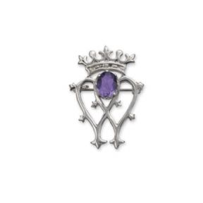 Scottish Luckenbooth Silver Brooch with Amethyst colour Stone 9778